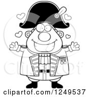 Clipart Of A Black And White Loving Chubby Old Admiral Man Wanting A Hug Royalty Free Vector Illustration by Cory Thoman