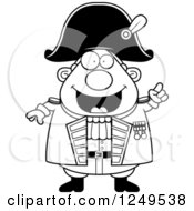 Clipart Of A Black And White Smart Chubby Old Admiral Man With An Idea Royalty Free Vector Illustration by Cory Thoman