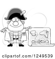 Clipart Of A Black And White Happy Chubby Old Admiral Man Holding A Map Royalty Free Vector Illustration by Cory Thoman
