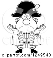 Clipart Of A Black And White Mad Chubby Old Admiral Man With Balled Fists Royalty Free Vector Illustration by Cory Thoman