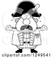 Clipart Of A Black And White Scared Screaming Chubby Old Admiral Man Royalty Free Vector Illustration by Cory Thoman