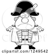 Clipart Of A Black And White Depressed Chubby Old Admiral Man Royalty Free Vector Illustration by Cory Thoman