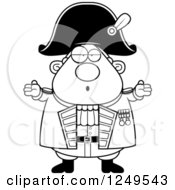 Clipart Of A Black And White Careless Shrugging Chubby Old Admiral Man Royalty Free Vector Illustration by Cory Thoman