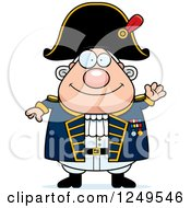 Clipart Of A Friendly Waving Chubby Old Admiral Man Royalty Free Vector Illustration by Cory Thoman