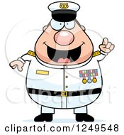 Clipart Of A Smart Chubby Navy Admiral Man With An Idea Royalty Free Vector Illustration by Cory Thoman