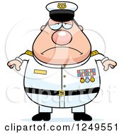 Clipart Of A Depressed Chubby Navy Admiral Man Royalty Free Vector Illustration by Cory Thoman