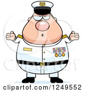 Clipart Of A Careless Shrugging Chubby Navy Admiral Man Royalty Free Vector Illustration