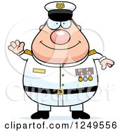 Clipart Of A Friendly Waving Chubby Navy Admiral Man Royalty Free Vector Illustration