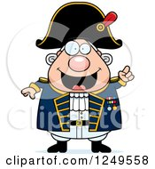 Clipart Of A Smart Chubby Old Admiral Man With An Idea Royalty Free Vector Illustration by Cory Thoman