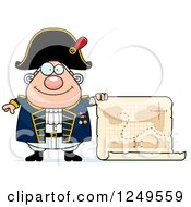 Clipart Of A Happy Chubby Old Admiral Man Holding A Map Royalty Free Vector Illustration
