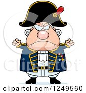 Clipart Of A Mad Chubby Old Admiral Man With Balled Fists Royalty Free Vector Illustration by Cory Thoman