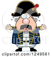 Clipart Of A Scared Screaming Chubby Old Admiral Man Royalty Free Vector Illustration by Cory Thoman
