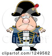 Clipart Of A Depressed Chubby Old Admiral Man Royalty Free Vector Illustration