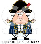 Clipart Of A Careless Shrugging Chubby Old Admiral Man Royalty Free Vector Illustration