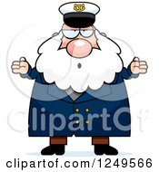 Clipart Of A Careless Shrugging Chubby Sea Captain Man Royalty Free Vector Illustration