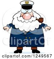 Happy Chubby Sea Captain Man Smoking A Pipe