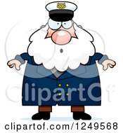 Clipart Of A Surprised Gasping Chubby Sea Captain Man Royalty Free Vector Illustration