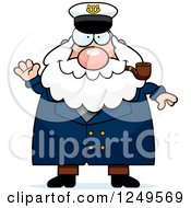 Clipart Of A Friendly Waving Chubby Sea Captain Man Smoking A Pipe Royalty Free Vector Illustration