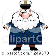 Clipart Of A Depressed Chubby Sea Captain Man Royalty Free Vector Illustration