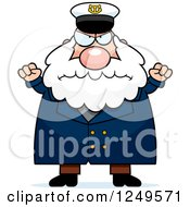 Clipart Of A Mad Chubby Sea Captain Man With Balled Fists Royalty Free Vector Illustration
