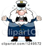 Clipart Of A Scared Screaming Chubby Sea Captain Man Royalty Free Vector Illustration