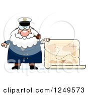 Clipart Of A Happy Chubby Sea Captain Man With A Map Royalty Free Vector Illustration by Cory Thoman
