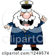 Clipart Of A Smart Chubby Sea Captain Man With An Idea Royalty Free Vector Illustration by Cory Thoman