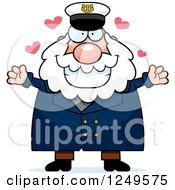 Clipart Of A Loving Chubby Sea Captain Man Wanting A Hug Royalty Free Vector Illustration by Cory Thoman