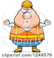 Careless Shrugging Chubby Road Construction Worker Man