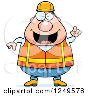 Smart Chubby Road Construction Worker Man With An Idea