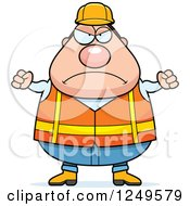 Mad Chubby Road Construction Worker Man With Balled Fists