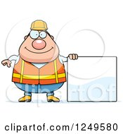 Happy Chubby Road Construction Worker Man Holding A Blank Sign