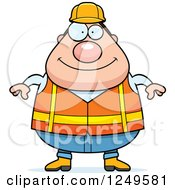 Clipart Of A Happy Chubby Road Construction Worker Man Royalty Free Vector Illustration by Cory Thoman