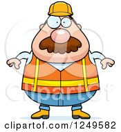 Clipart Of A Chubby Road Construction Worker Man Royalty Free Vector Illustration by Cory Thoman