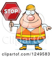 Happy Chubby Road Construction Worker Man Holding A Stop Sign