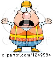 Scared Screaming Chubby Road Construction Worker Man