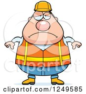 Depressed Chubby Road Construction Worker Man