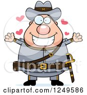 Clipart Of A Loving Chubby Civil War Confederate Soldier Man Wanting A Hug Royalty Free Vector Illustration by Cory Thoman