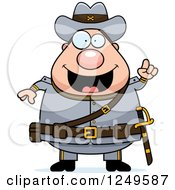 Clipart Of A Smart Chubby Civil War Confederate Soldier Man With An Idea Royalty Free Vector Illustration by Cory Thoman