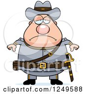 Clipart Of A Depressed Chubby Civil War Confederate Soldier Man Royalty Free Vector Illustration by Cory Thoman