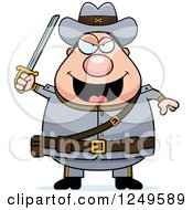Clipart Of A Chubby Civil War Confederate Soldier Man Holding Up A Sword Royalty Free Vector Illustration by Cory Thoman