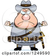 Clipart Of A Mad Chubby Civil War Confederate Soldier Man With Balled Fists Royalty Free Vector Illustration by Cory Thoman