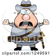 Clipart Of A Scared Screaming Chubby Civil War Confederate Soldier Man Royalty Free Vector Illustration
