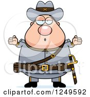 Clipart Of A Careless Shrugging Chubby Civil War Confederate Soldier Man Royalty Free Vector Illustration