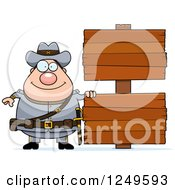 Clipart Of A Happy Chubby Civil War Confederate Soldier Man With Blank Wood Signs Royalty Free Vector Illustration by Cory Thoman