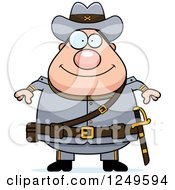 Clipart Of A Happy Chubby Civil War Confederate Soldier Man Royalty Free Vector Illustration by Cory Thoman