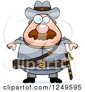 Clipart Of A Chubby Civil War Confederate Soldier Man Royalty Free Vector Illustration by Cory Thoman