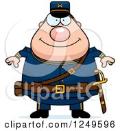 Clipart Of A Happy Chubby Civil War Union Soldier Man Royalty Free Vector Illustration by Cory Thoman