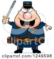 Clipart Of A Chubby Civil War Union Soldier Man Holding Up A Sword Royalty Free Vector Illustration by Cory Thoman