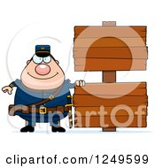 Clipart Of A Happy Chubby Civil War Union Soldier Man With Wooden Signs Royalty Free Vector Illustration by Cory Thoman